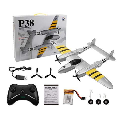 Harpily Mini Drone Giocattolo Telecomandato per Bambini e Principianti Quadricottero RC Drone Giocattolo Economico, Aereo di Simulazione RC con Apertura Alare FX-816 P38 (Argento)