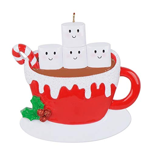 MAXORA 2019 Christmas Ornament Personalized Family of 4 Marshmallow Mug Holiday Decoration