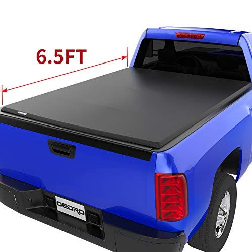 oEdRo Tri-Fold Truck Bed Tonneau Cover Compatible with 2014-2019 Chevy Silverado/GMC Sierra 1500 (2019 Legacy ONLY); 2015-2018 Silverado Sierra 2500 3500 HD, Fleetside 6.5' Bed