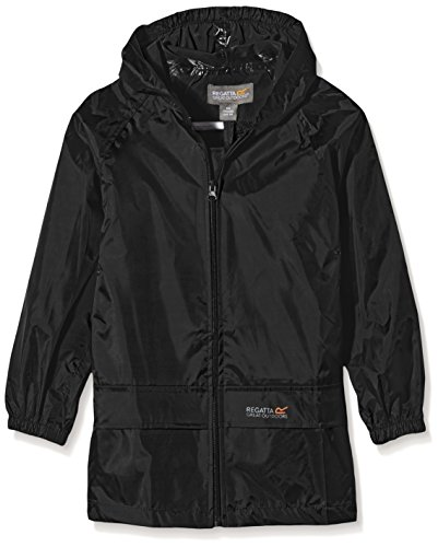 Regatta Boy's Regatta Kids Stormbreak Jacket Plain Raincoat, Black, 3-4 Years