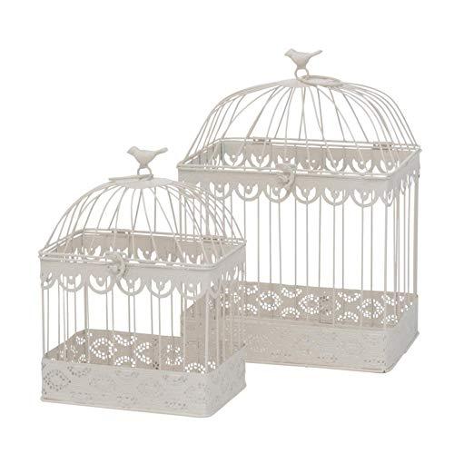 Juego de 2 jaulas decorativas de metal blanco crema rectangular H 30-40 cm