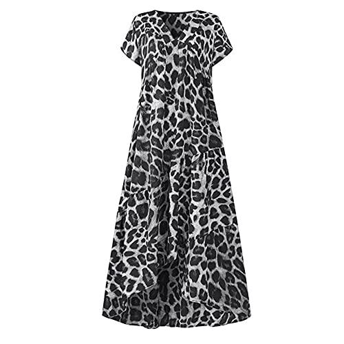 N\P Vestido largo sexy de manga corta con estampado de leopardo para mujer