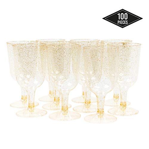 MATANA 100 Wijnglazen, 6oz (170ml) - Glitter Gold - Elegant, Stevig & Herbruikbaar - Perfect voor Catering partijen Verjaardagen Bruiloften Kerstmis Nieuwjaar Vieringen.