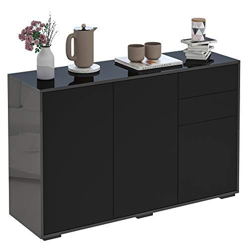 HOMCOM High Gloss Sideboard, Side Cabinet, Push-Open Design with 2 Drawer for Living Room, Bedroom, Black