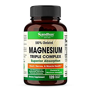 Magnesium Chelated Complex High Absorption Triple Chelate Magnesium Glycinate BisGlycinate Glycinate Glutamine TRACCS Heart Calm Sleep Nerve Muscle Health Support Vegan Dietary Supplement 120 Capsules