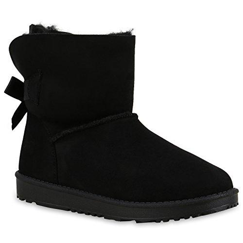 Warm Gefütterte Boots Damen Stiefeletten Schleifen Kunstfell Schlupfstiefel Schlupfstiefeletten Schuhe 129578 Schwarz Schleife 38 Flandell