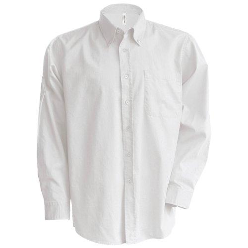 Kariban - Camisa Manga Larga Modelo Oxford Cuidado fácil (Tallas Grandes) Hombre Caballero - Trabajo/Boda/Fiesta (4XL) (Blanco)