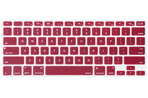 Price comparison product image MOSISO Silicone Keyboard Cover Compatible with MacBook Pro 13 / 15 Inch (with / Without Retina Display,  2015 or Older Version), Older MacBook Air 13 Inch (A1466 / A1369,  Release 2010-2017),  Wine Red