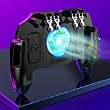 waitFOR Mobile Game Controller with Cooling Fan, Retractable Wireless Mobile Six Finger Linkage Controller Gamepad Aim and Shoot Trigger, Joystick Remote Grip