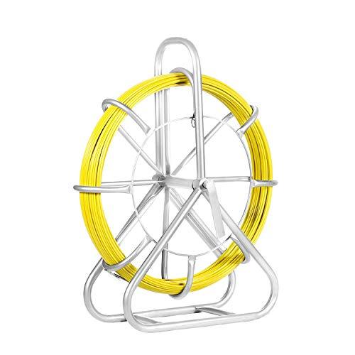 Morffa 6MM 425Ft Kanal Rodder 150g/m Kabel Glasfaserkabel Dichte Fischband Fiberglas 11,6 Inch Min. Biegung Radius Fiberglas Drahtseil mit Käfig und Ständer (6MM)