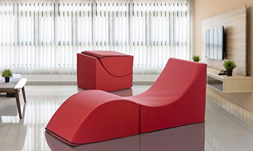 Talamo Pouf Clever, Trasformabile in Chaise Longue, Ecopelle, 50X70X50 cm, Made in Italy, Rosso, Singolo