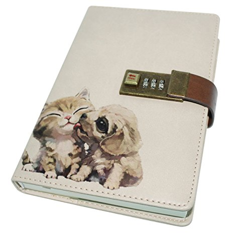 Cuddty Cuaderno de piel sintética con cierre de combinación, soporte para bolígrafo, diario, cuaderno de bocetos, planificador de bloc de notas, tamaño B6