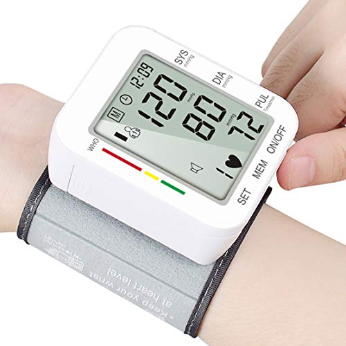 Blood Pressure Monitor, Hong S Wrist Cuff Blood Pressure Meter Digital 180 Readings Memory Accurate Heart Pulse Rate Indicator Voice Broadcast Large LCD Screen