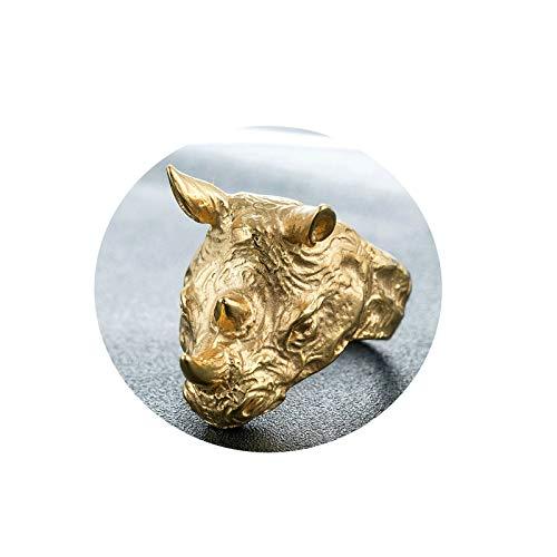 Bishilin Edelstahl Freundschaftsring Herren Edelstahlring Nashorn Kopf Vintage Männer-Ring Partnerring Gold Gr.62 (19.7)