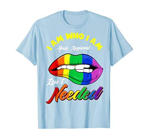 Tengyuntong Camisetas y Tops Polos y Camisas, Camiseta de Regalo Gay Rainbow Lips Pride Equality