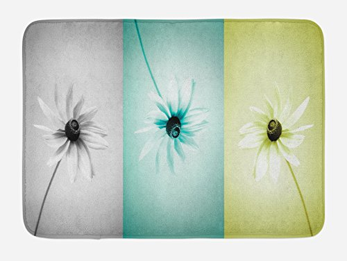 Ambesonne Abstract Bath Mat, Daisy Flowers in Different Featured Framed Saturated Image, Plush Bathroom Decor Mat with Non Slip Backing, 29.5