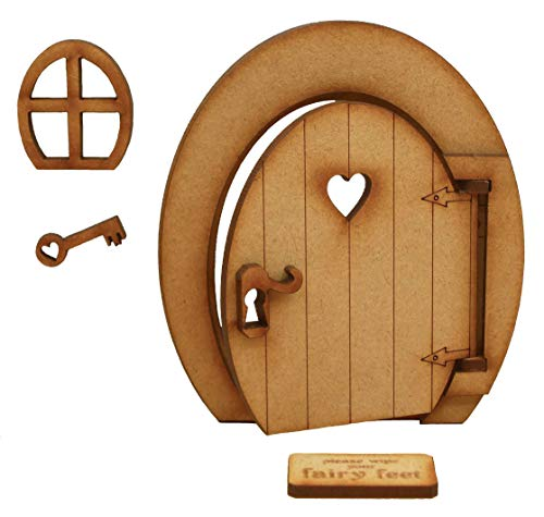 Oval Opening Fairy Door. Oval Three-Dimensional Opening Fairy Door. Wooden Self Assembly Craft Kit.