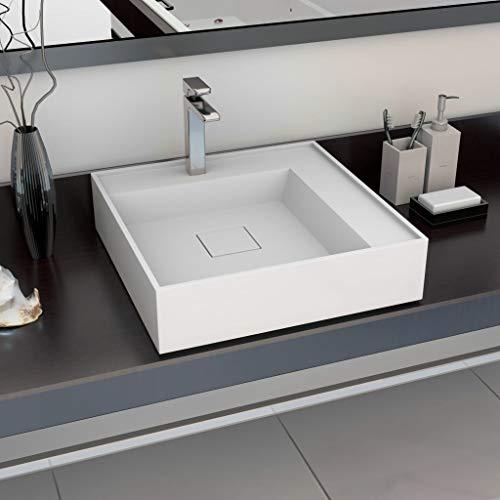 Casdl Waschbecken 50 x 50 x 12,3 cm Mineralguss/Marmorguss Weiß