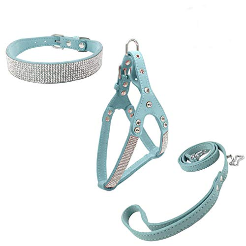 Newtensina Dog Collar & Harness & Lead Sets Fashion Dog Collar Diamante with Harness & Leashes Comfortable Soft Collar Harness and Leashes Set for Dog - Blue - S