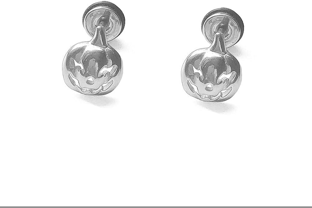 16G Pumpkin Halloween Cartilage Stud Earrings for Men Women Boys Girls Cute Punk Personalized Stainless Steel Flat Screw Back Helix Ear Hypoallergenic Piercing Jewelry Gifts Boyfriend Bff Xmas