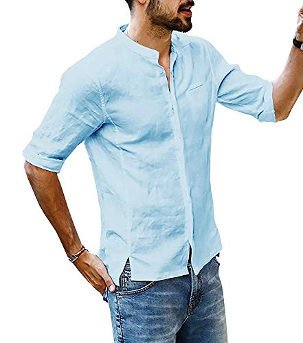 Lueyifs Herren Leinenhemd 3/4 Ärmel Freizeithemd Männer Sommer Hemd Casual Regular Fit Oberteile, Blau, L