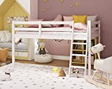 Bonnlo Junior Low Loft Bed with Guard Rail Ladder, Full-Size Solid Wood Bed Frame for Kids and Young Teens, No Box Spring Required, White