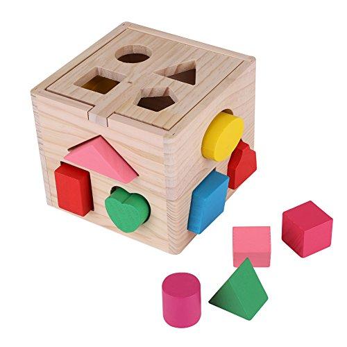 Zerodis - Caja de 13 Agujeros para ordenar Juguetes educativos para niños, diseño de Rompecabezas de Madera Colorida