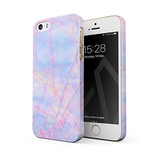 BURGA Cover per iPhone 5 / 5s / SE - Colorato Marmo Unicorno Arcobaleno Cotton Candy Marble Design Sottile Guscio Resistente in Plastica Dura Custodia Protettiva