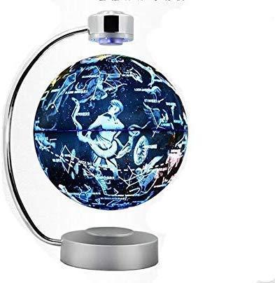 WYZXR Magnetschwebekugel, 8-Zoll-Anti-Schwerkraft-Rotations-Sternbildkarte mit LED-Lichtern, Innenministerium-Dekoration
