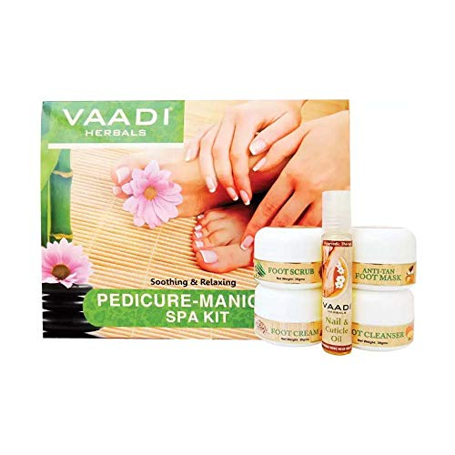Pedicure Manicure Kit with Grapeseed Extract and Fenugreek Soothing and Relaxing ALL Natural Suitable for All Skin Types and Both for Men and Women - 135 Grams - Vaadi Herbals