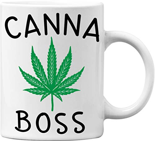 Canna Boss Funny White 11 Oz. Weed Marijuana Coffee Mug – Great Novelty Gift for Cannabis and Weed Smokers by Mad Ink…