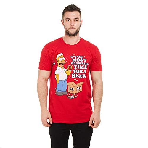 The Simpsons Wonderful Time Camiseta, Red, Small para Hombre