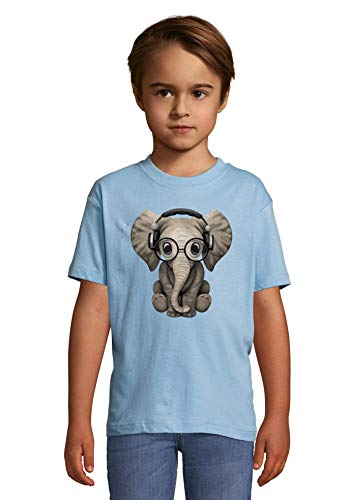 Luckyprint Cute Elephant Listening to Music DJ Heaven Kids Colorful T-Shirt 4 Year Old