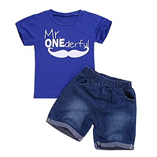 Cotrio Conjunto de pantalones cortos de mezclilla para niños, camiseta de manga corta y pantalones, trajes de ropa, Azul#324., 2 Años / 3 Años