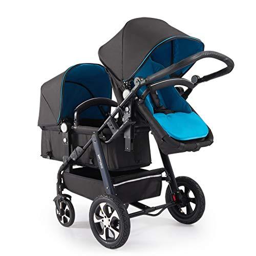 XYSQ dubbele kinderwagen, dubbele kinderwagen, kinderwagen voor en achter opvouwbaar, eenvoudig op te bergen voor een tweede kinderwagen, lichte dubbele kinderwagens