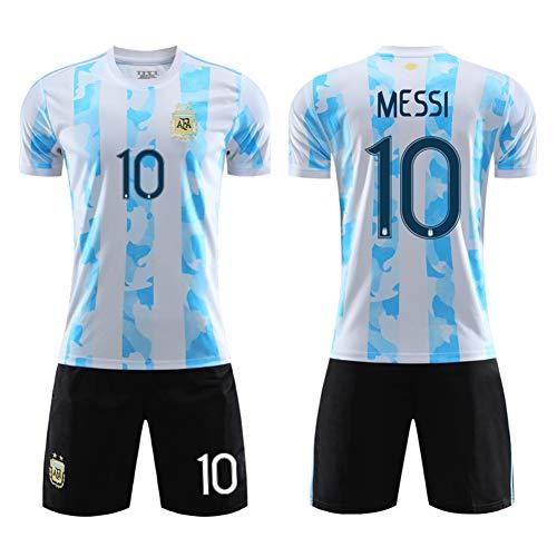Argentinien besticktes Teamwappen Trikot Nr. 10 Messi Away Neymar Brasilien Nationalmannschaft Uniformen Italienisch weich und atmungsaktiv Jersey Größe (One Size - 2XL) Gr. XS, 1