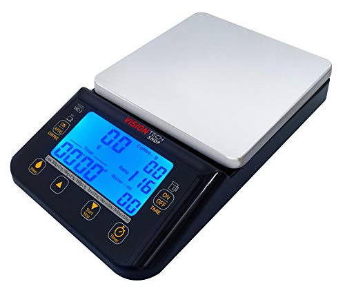 VisionTechShop VKC-3 Coffee Scale with Timer, Hand Drip Coffee Scale, Stainless Steel Plate Kitchen Food Scale, LCD Display with Backlight, 3000g/99.05oz Capacity, Batteries, USB Cable-C Included