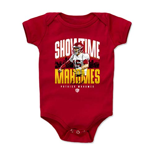 1UP Sports Marketing Pat Mahomes Kansas City Football Baby Clothes, Onesie, Creeper, Bodysuit (6-12 Months, Red) - Patrick Mahomes Showtime WHT