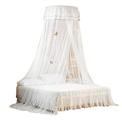 Uarter Boho Princess Mosquito Net, Installation-Free Girls Mosquito Net Bed Canopy Bed Conical Curtains with Luminous Butterflies, White