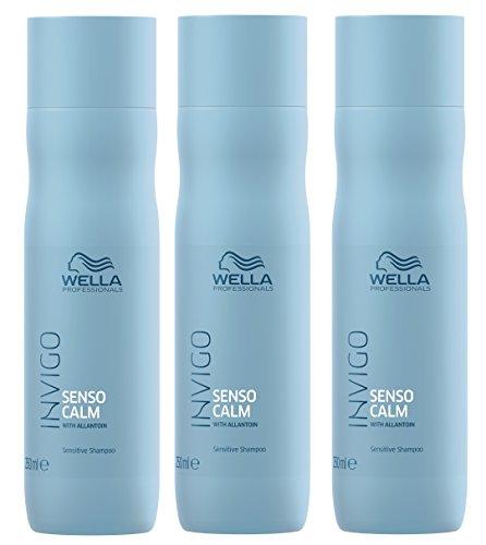 Lot de 3 shampoings Senso Calm Sensitiv Invigo Wella Professionals avec allantoïne - 250 ml chacun = 750 ml