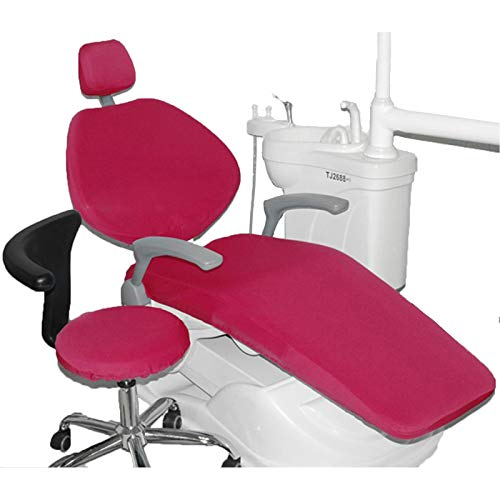 BIUYYY Elastische wasserdichte Schutzhülle PU-Leder Dental Stuhl Sitzbezug Kopfstütze Rückenlehne Schutz Zahnarzt Ausrüstung, 4 Teile/Satz, Rot