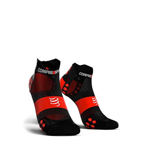 Compressport Homme et Femme Coupe-bas V3.0 Ultra-léger Courses Chaussettes Paquet de 1 Noir/Rouge 35-38