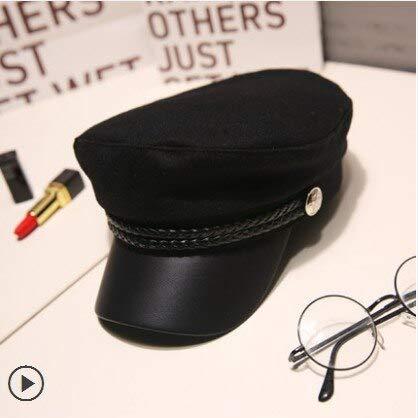 WAZHX Sombrero Militar De Cuero PU A La Moda para Mujer, Gorros De Boina Negros Sólidos, Sombreros De Marinero De Otoño, Sombrero De Cadete De Viaje para Mujer, Gorra De Capitán