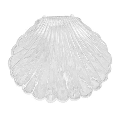 PU Ran transparent Seashell Form Schmuck Halskette Armband Lagerung Organizer Box Case, plastik, weiß, Einheitsgröße