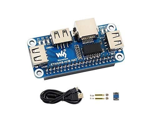 Ethernet/USB HUB HAT Expansion Board for Raspberry Pi 4 B/3 B+/3 B/2 B/Zero/Zero W/Zero WH, with 1 RJ45 10/100M Ethernet Port, 3 USB Ports Compatible with USB2.0/1.1