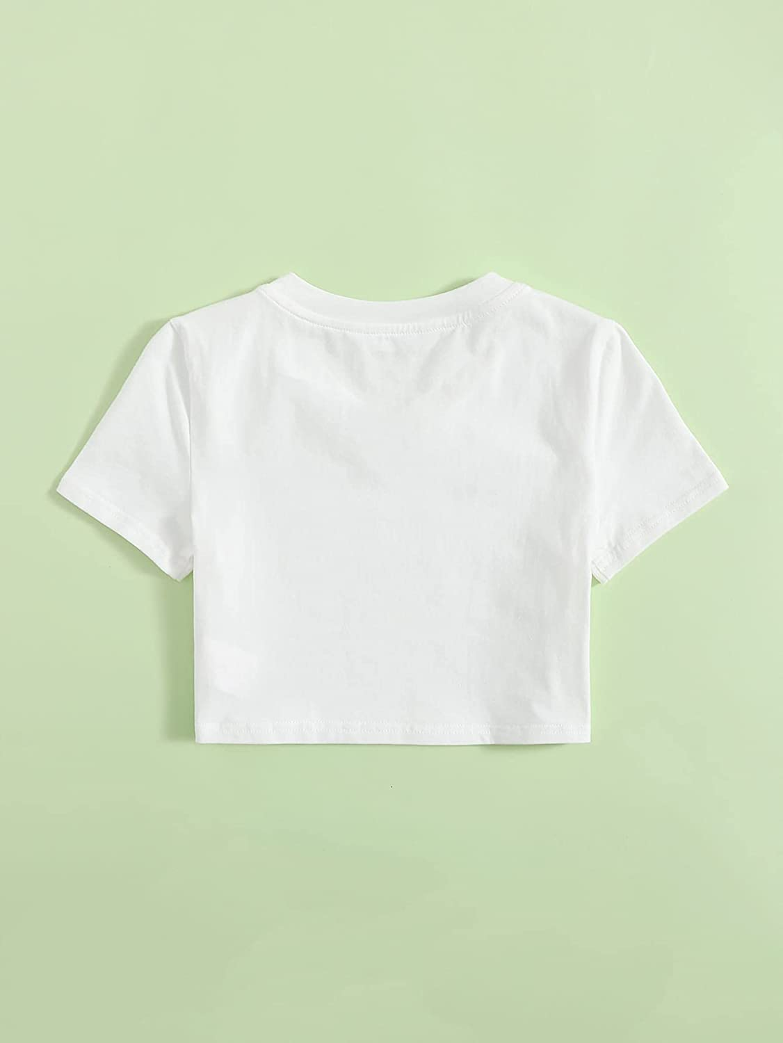 Floerns Girls Casual V Neck Short Sleeve Solid Crop Tops Tee Shirts