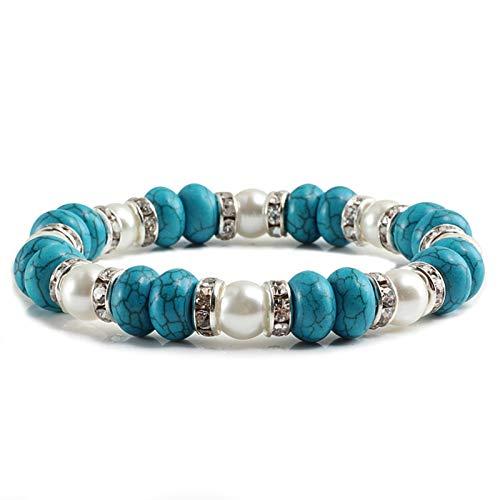 Stone bead bracelet Bracelet Pink Natural Stone Beaded Bracelets Rhinestone Circle Bangles Female Chain Rope Best Friend Jewelry Gift Fashion casual (Length : 22cm, Metal Color : Blue)