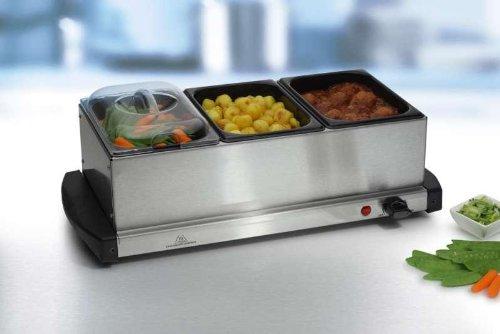 Chafing Dish, multifunktioneller 2in1 Buffetwärmer + Edelstahl Warmhalteplatte, 3 Stück 1,5 Liter Emailleschalen in Edelstahlgehäuse, 200 Watt,