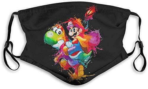 SYEA Super Mario Graffiti bufanda con filtro para la cara de los niños y los hombres, cubierta para la boca, lavable, bufanda para la boca para adultos