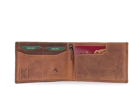 Visconti Portemonnee - Hunter Leer - Reis portemonnee/Paspoort houder/paspoort beschermer/Geschenk Doos/RFID Fraude Protectie & Stylus Pen - 726 - JET - JET - Olie Tan
